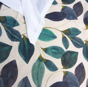 Tela loneta hojas turquesa - 5