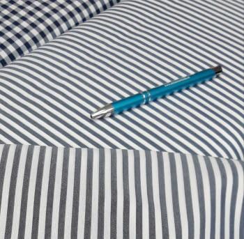 Tela vichy rayas azul marino - 3