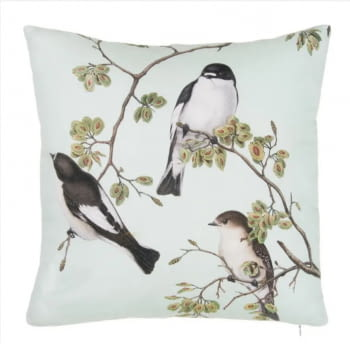 Cojín pájaros verde agua 45 x 45