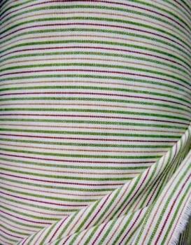 Tela Loneta rayitas verdes 280