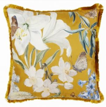 Cojines terciopelo mostaza flores