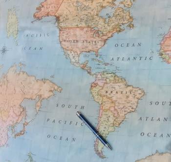 Tela loneta de mapamundi azul 280