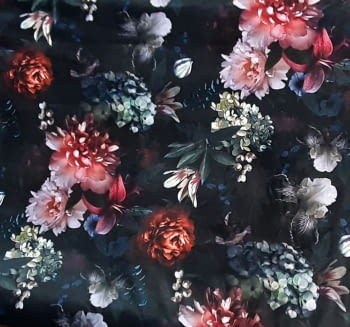 Tela terciopelo flores malvas 140