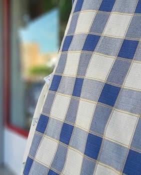 Tela Cuadros azul beige 280