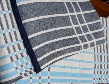 Colchas reversibles cuadros azul 90