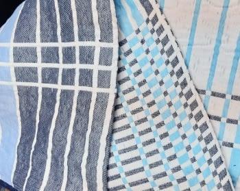 Colchas reversibles cuadros azul 90 - 3