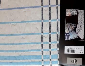 Colchas reversibles cuadros azul 90 - 5