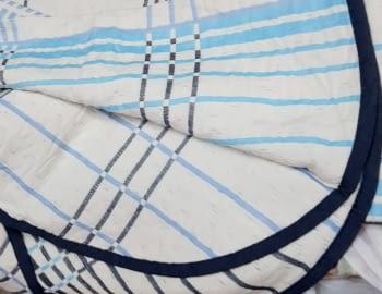 Colchas reversibles cuadros azul 90 - 6
