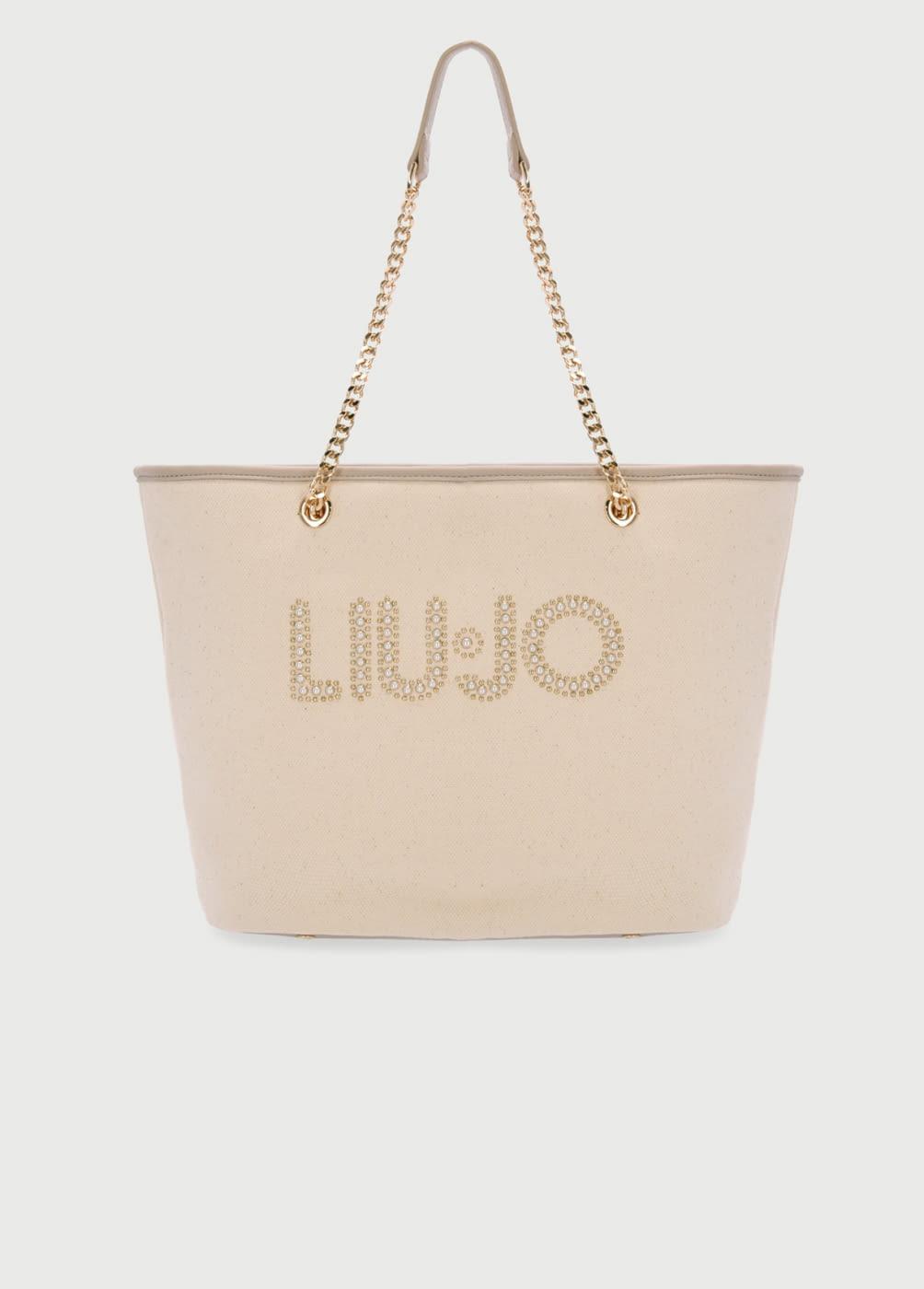 LIU·JO shopping color beige con logotipo