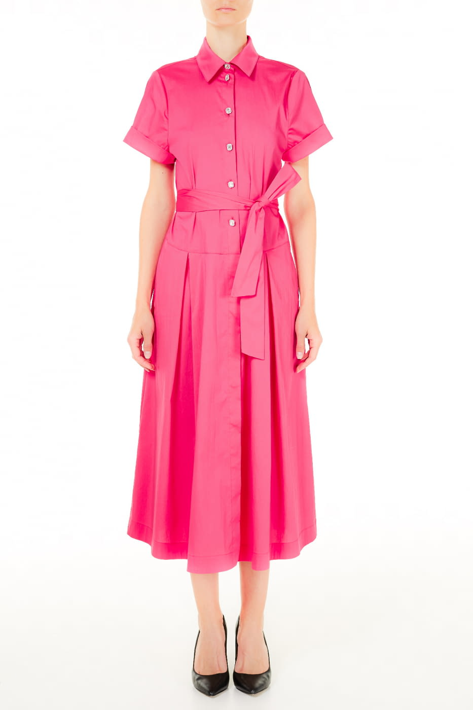 LIU·JO vestido camisero largo color frambuesa