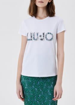 LIU·JO camiseta manga corta blanca con piedras  azul