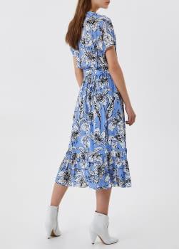 LIU·JO vestido manga corta cruzado estampado  tupilanes azul - 2