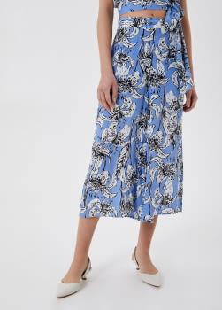 LIU·JO pantalón ancho estampado tupilanes azul