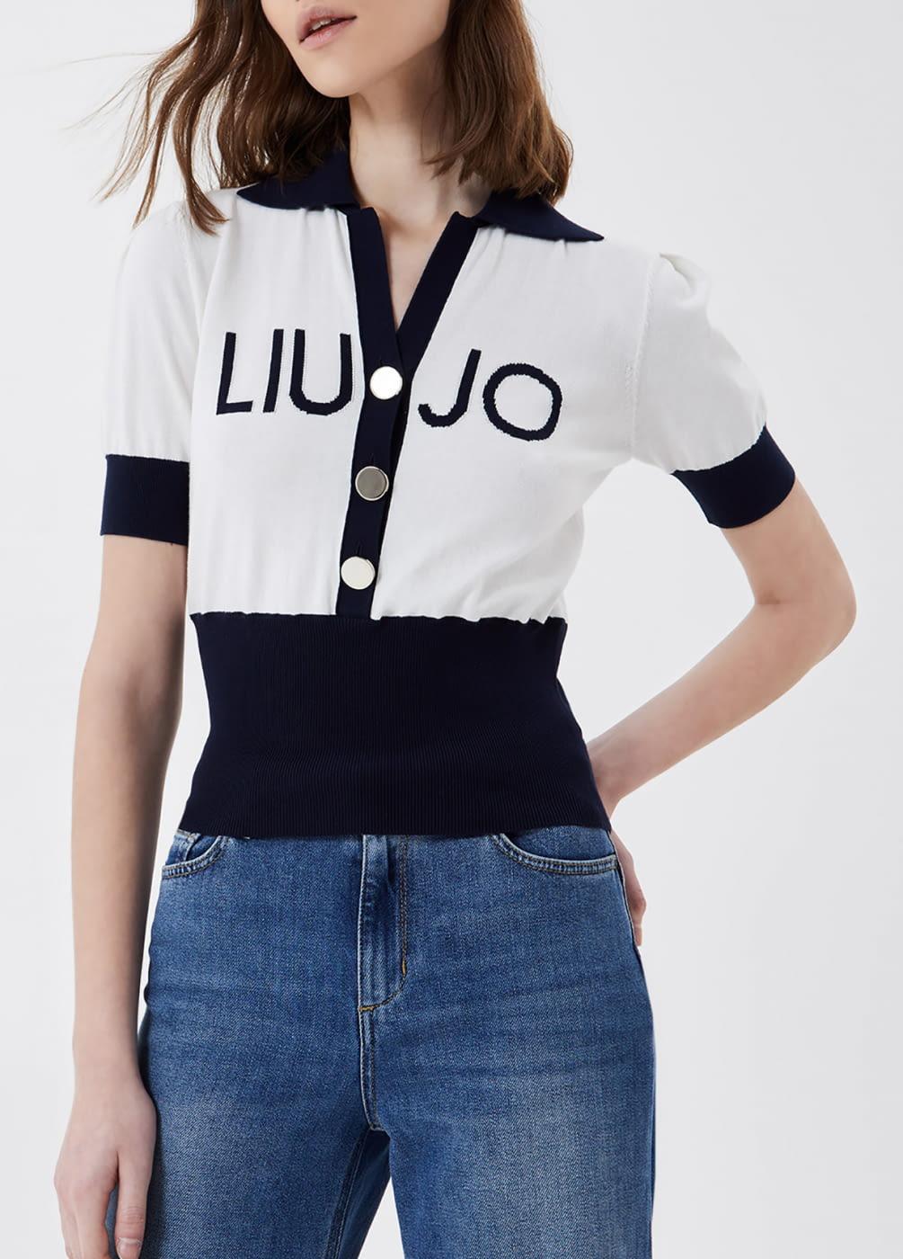 LIU·JO jersey tipo polo crudo y azul marino  con logo