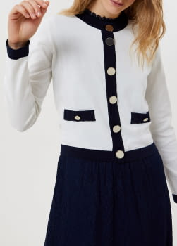 LIU·JO chaqueta crudo y azul marino con logo - 1