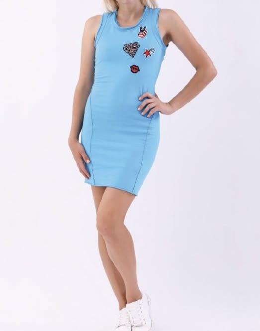 MET vestido tirantes color turquesa con parches