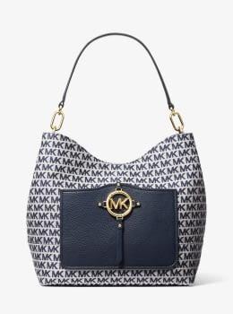 MICHAEL KORS bolso combinado textil y piel azul  marino