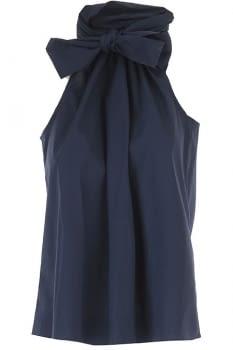 MICHAEL KORS camisa escote halter azul marino
