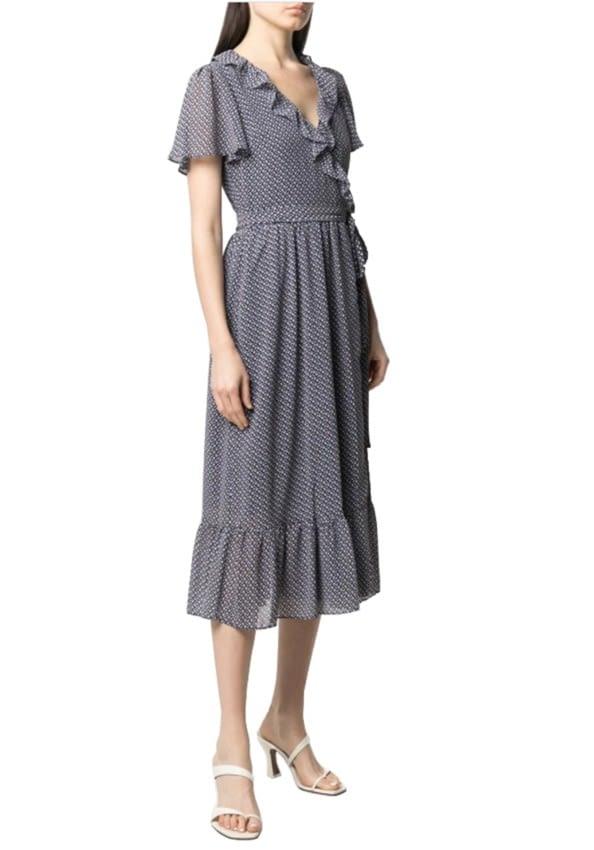 MICHAEL KORS vestido cruzado estampado floral azul marino