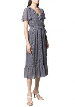 MICHAEL KORS vestido cruzado estampado floral azul marino - 1