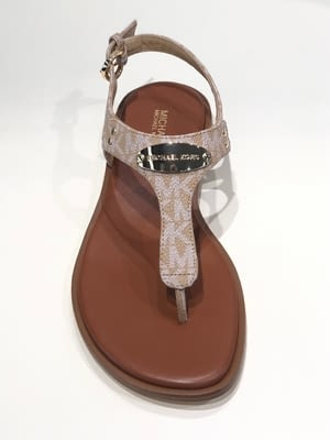 MICHAEL KORS sandalia plana logo chapa camel