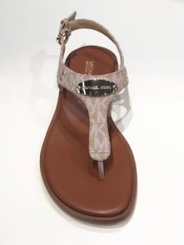 MICHAEL KORS sandalia plana logo chapa camel - 1