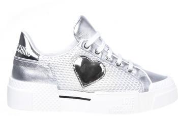 LOVE MOSCHINO sneaker rejilla plata con corazón