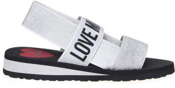 LOVE MOSCHINO sandalia plata con logo