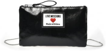 LOVE MOSCHINO clutch color negro con logo