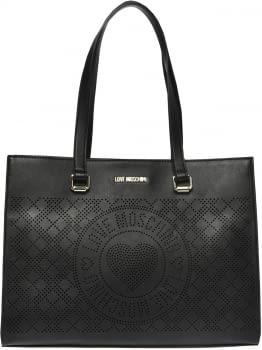 LOVE MOSCHINO bolso troquelado color negro con  logo