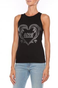 LOVE MOSCHINO camiseta negra con tachas