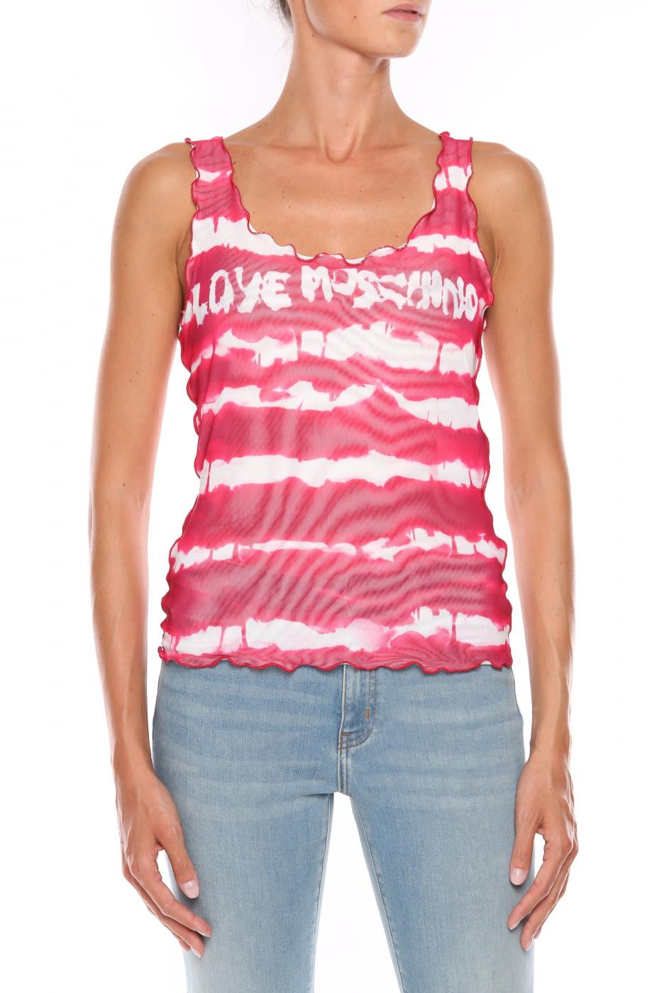LOVE MOSCHINO camiseta sin mangas rojo y blanco con rayas y logo