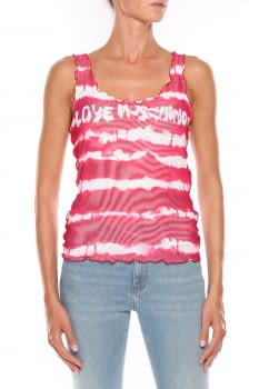 LOVE MOSCHINO camiseta sin mangas rojo y blanco con rayas y logo - 1