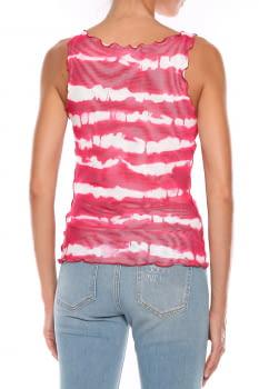 LOVE MOSCHINO camiseta sin mangas rojo y blanco con rayas y logo - 2