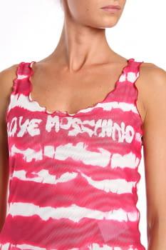 LOVE MOSCHINO camiseta sin mangas rojo y blanco con rayas y logo - 3