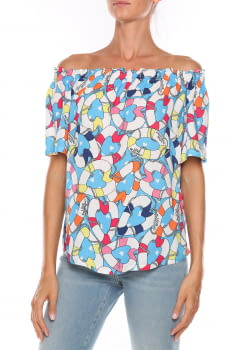 LOVE MOSCHINO camisa estampada multicolotr manga corta