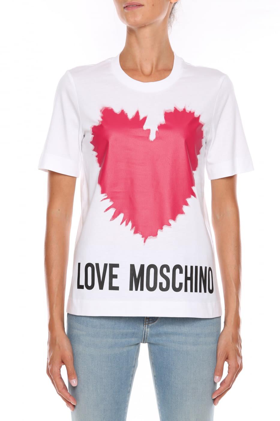 LOVE MOSCHINO camiseta blanca con logo y corazón