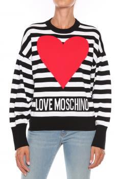 LOVE MOSCHINO jersey rayas blanco y negro con  corazón