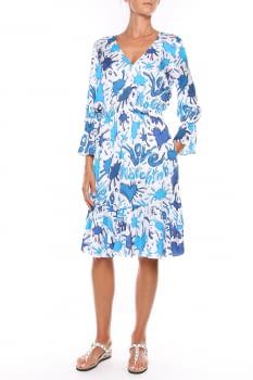 LOVE MOSCHINO vestido estampado azul y blanco  en manga larga