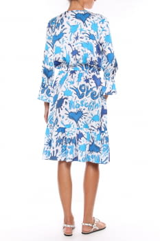 LOVE MOSCHINO vestido estampado azul y blanco  en manga larga - 2