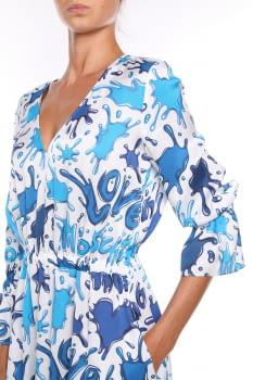 LOVE MOSCHINO vestido estampado azul y blanco  en manga larga - 3