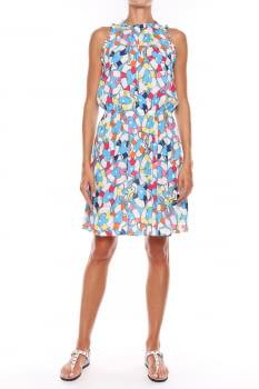 LOVE MOSCHINO vestido sin mangas estampado azul multicolor
