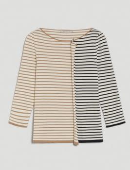 PENNYBLACK jersey crudo con rayas marino y camel - 5