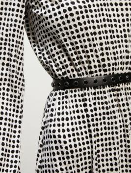 PENNYBLACK vestido manga larga en topos blanco y negro - 4