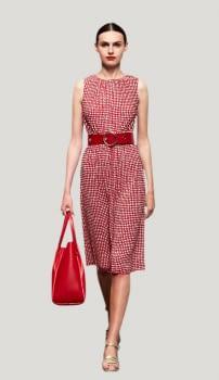 PENNYBLACK vestido topos sin mangas blanco y rojo