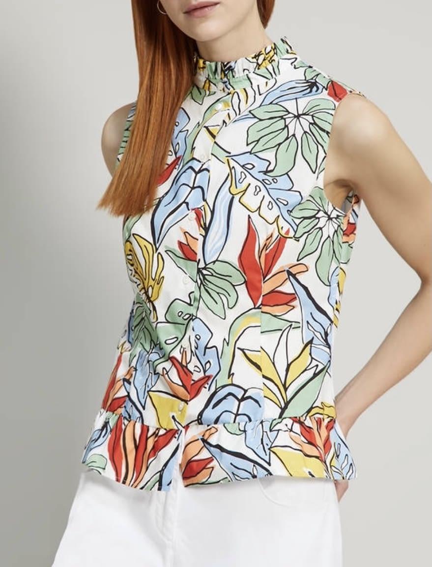 PENNYBLACK camisa sin mangas estampado tropical