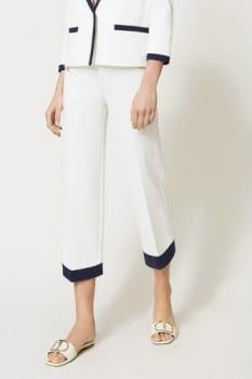 TWINSET pantalón blanco ancho con vivos azul marino - 1