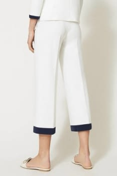 TWINSET pantalón blanco ancho con vivos azul marino - 3