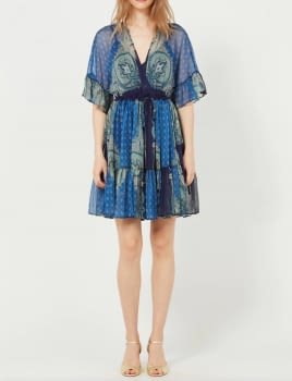 TWINSET vestido manga corta estampado azul