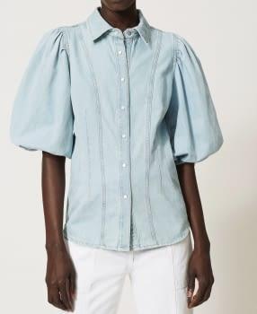 TWINSET camisa vaquera azul claro con manga  abullonada - 2